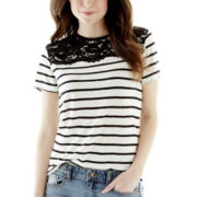 Joe Fresh™ Elbow-Sleeve Lace Linen Top