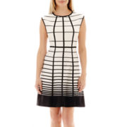 Studio 1® Sleeveless Grid Fit-and-Flare Dress - Petite