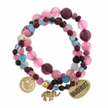 jcpenney.com | Capelli of New York Multicolor Bead and Charm Gold-Tone Set of 3 Stretch Bracelets