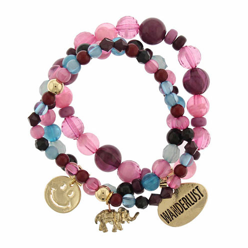 Capelli of New York Multicolor Bead and Charm Gold-Tone Set of 3 Stretch Bracelets