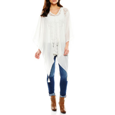 jcpenney.com | Big Buddha Lace Panel Poncho Wrap