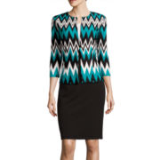 Danny & Nicole® Chevron Print Jacket Dress