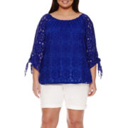 Stylus™ Lace 3/4-Sleeve Tie Tunic or Twill Bermuda Shorts - Plus