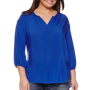 Stylus™ 3/4-Sleeve Peasant Top - Plus
