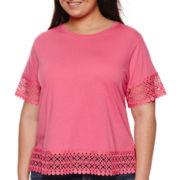 Stylus™ Short-Sleeve Crochet-Trim Tee