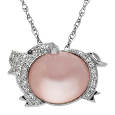 jcpenney.com | Genuine White Quartz and Lab-Created White Sapphire Pig Pendant Necklace