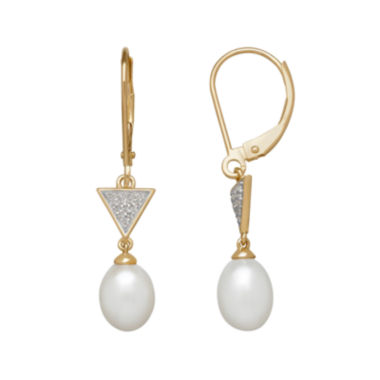 jcpenney.com | Cultured Freshwater Pearl and Diamond-Accent Drop Earrings