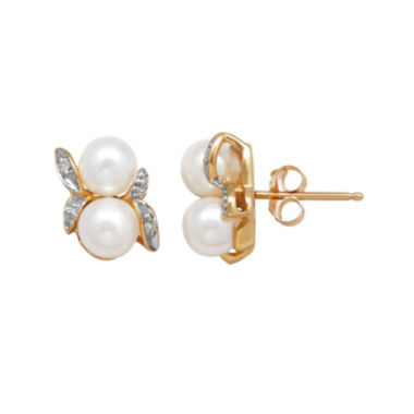 jcpenney.com | Cultured Freshwater Pearl and Diamond-Accent Earrings