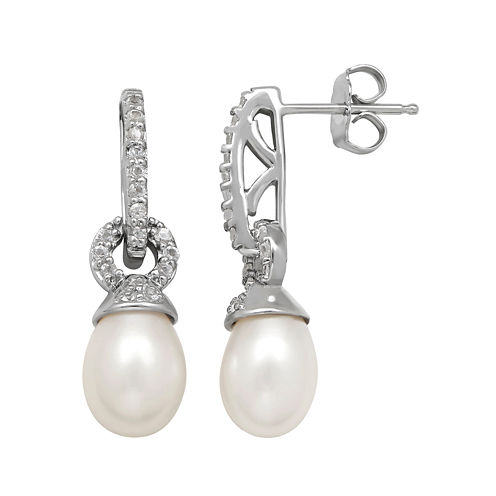 Cultured Freshwater Pearl and White Topaz Drop Earrings