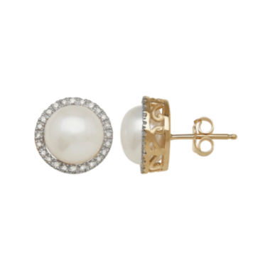 jcpenney.com | 1/7 C.T. TW Diamond and Cultured Freshwater Pearl Stud Earrings