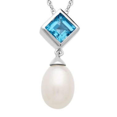 jcpenney.com | Cultured Freshwater Pearl and Blue Topaz Pendant Necklace