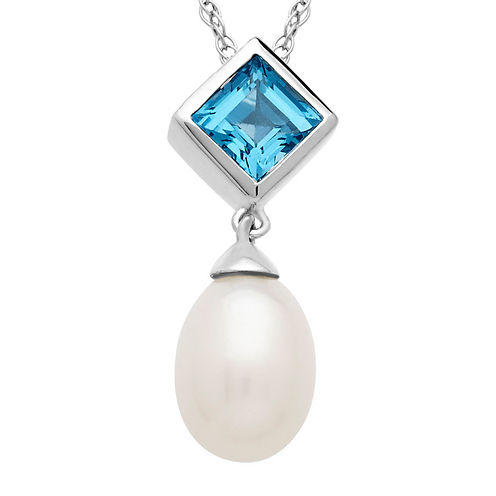 Cultured Freshwater Pearl and Blue Topaz Pendant Necklace