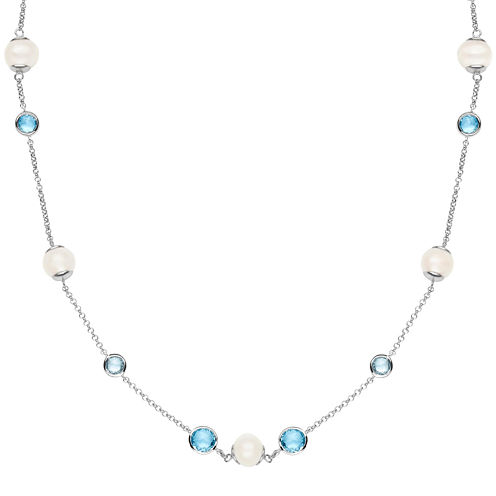 Cultured Freshwater Pearl and Genuine Blue Topaz Sterling Silver Necklace
