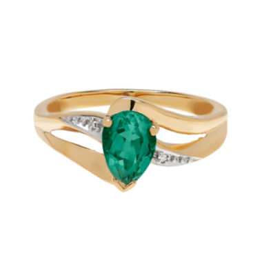 jcpenney.com | Lab-Created Emerald and Diamond-Accent 10K Yellow Gold Ring