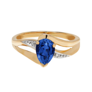 jcpenney.com | Lab-Created Blue Sapphire and Diamond-Accent 10K Yellow Gold Ring
