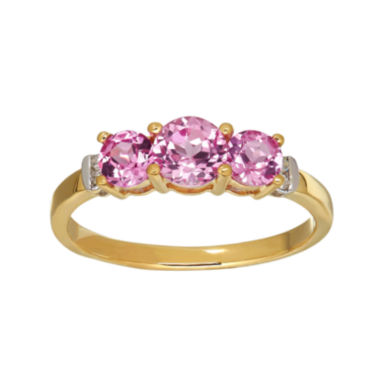 jcpenney.com | Lab-Created Pink Sapphire and Diamond-Accent 10 K Yellow Gold 3-Stone Ring