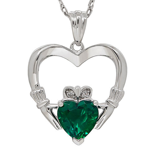 Lab-Created Emerald and Diamond-Accent Claddagh Heart Pendant Necklace