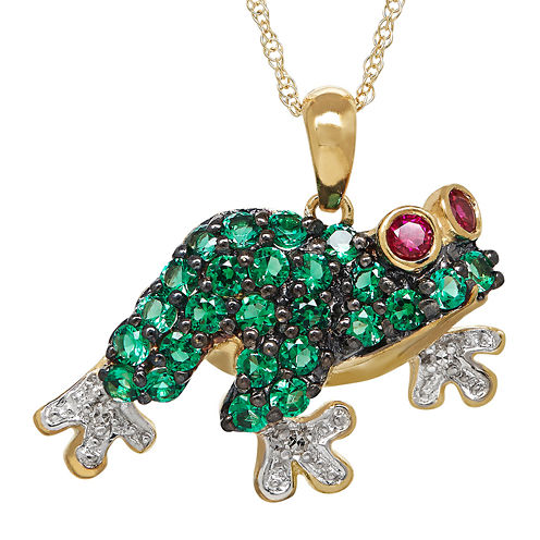 Lab-Created Emerald, Ruby & Diamond Accent 10K Yellow Gold Frog Pendant