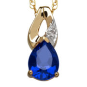 Lab-Created Blue Sapphire & Diamond Accent 10K Yellow Gold Pendant