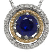 Lab-Created Blue Sapphire and Diamond-Accent Circle Pendant Necklace