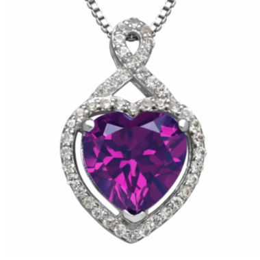 jcpenney.com | Lab-Created Purple and White Sapphire Heart Pendant Necklace