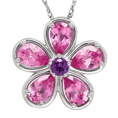 jcpenney.com | Lab-Created Pink Sapphire and Genuine Amethyst Flower Pendant Necklace