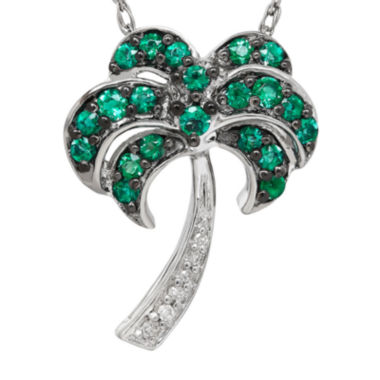 jcpenney.com | Lab-Created Emerald and Diamond-Accent Palm Tree Pendant Necklace