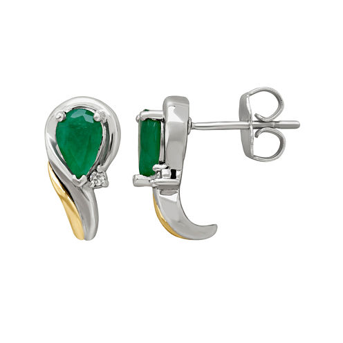Genuine Emerald and Diamond-Accent Swirl Earrings