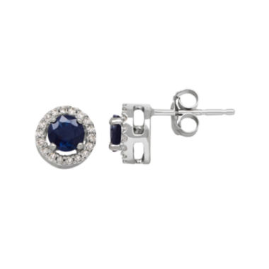 jcpenney.com | Genuine Blue Sapphire and 1/10 CT. T.W. Diamond Circle Earrings