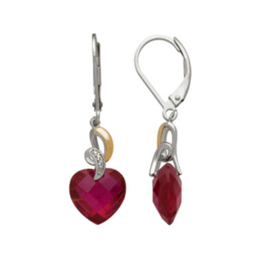 jcpenney.com | Lab-Created Ruby and Diamond-Accent Heart Drop Earrings