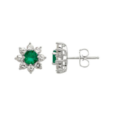 jcpenney.com | Lab-Created Emerald and White Sapphire Starburst Sterling Silver Earrings
