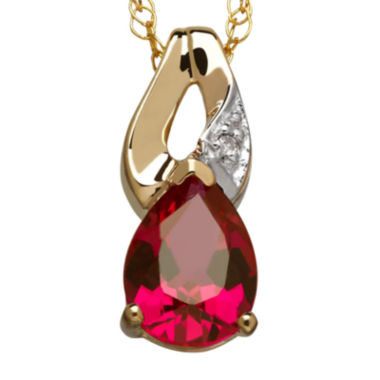jcpenney.com | Lab-Created Ruby & Diamond Accent 10K Yellow Gold Pendant