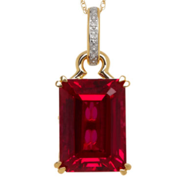 jcpenney.com | Lab-Created Ruby and Diamond-Accent Emerald-Cut Pendant Necklace