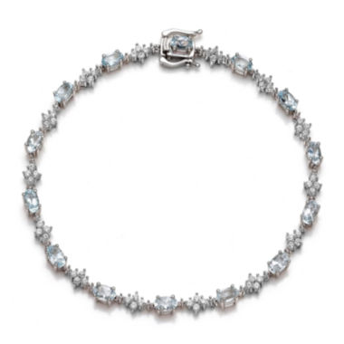 jcpenney.com | Genuine Aquamarine and Lab-Created White Sapphire Sterling Silver Tennis Bracelet