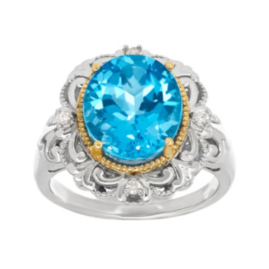 jcpenney.com | Genuine Blue Topaz and Diamond-Accent Sterling Silver Ring