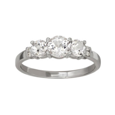 jcpenney.com | Genuine White Topaz and Diamond-Accent 10K White Gold 3-Stone Ring