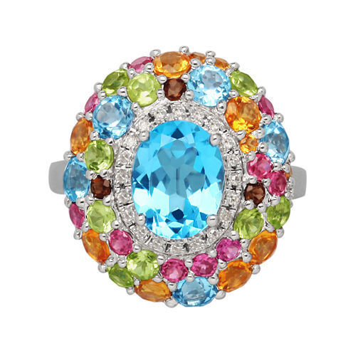 Genuine Multicolor Gemstone Sterling Silver Ring