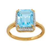 Genuine Blue Topaz and 1/10 CT. T.W. 10K Yellow Gold Ring