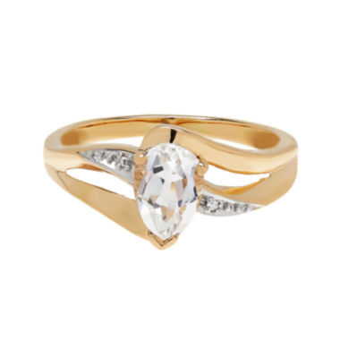 jcpenney.com | Genuine White Topaz and Diamond-Accent 10K Yellow Gold Ring