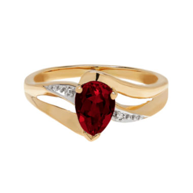 jcpenney.com | Genuine Garnet and Diamond-Accent 10K Yellow Gold Ring