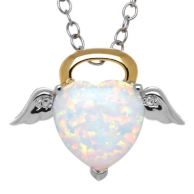 jcpenney.com | Heart-Shaped Lab-Created Opal and Diamond Accent Angel Pendant