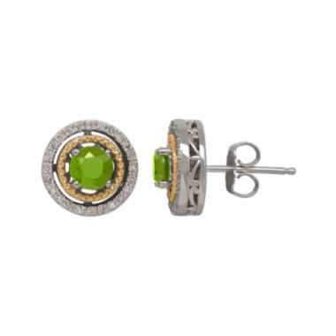 jcpenney.com | Genuine Peridot and 1/7 CT. T.W. Diamond Circle Earrings