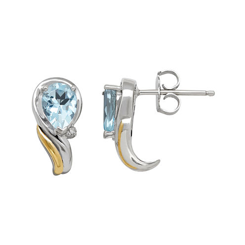 Genuine Blue Topaz and 1/10 CT. T.W. Diamond Swirl Earrings