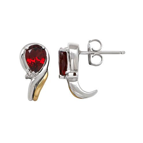 Genuine Garnet and 1/10 CT. T.W. Diamond Swirl Earrings