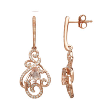 jcpenney.com | Genuine Morganite and 1/3 CT. T.W. 10K Rose Gold Drop Earrings