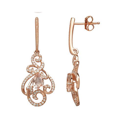 Genuine Morganite and 1/3 CT. T.W. 10K Rose Gold Drop Earrings