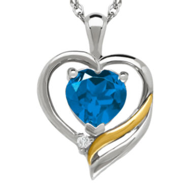 jcpenney.com | Genuine Blue Topaz and Diamond-Accent Heart Pendant Necklace