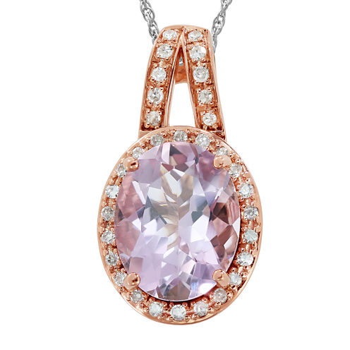 Genuine Pink Morganite and 1/10 C.T. TW. Diamond 14K Rose Gold Pendant