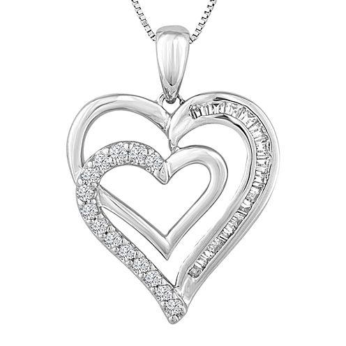 1/5 CT. T.W. Diamond Double-Heart Pendant Necklace