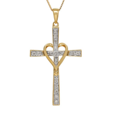 jcpenney.com | 1/10 CT. T.W. Diamond 14K White Gold Cross Pendant Necklace